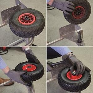 Das Bild zeigt, wie man ein Ersatzrad für eine Sackkarre wechslen und montieren kann.