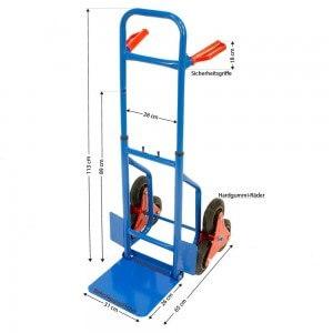 Blaue treppensackkarre mit 1,13 Meter Gesamthöhe